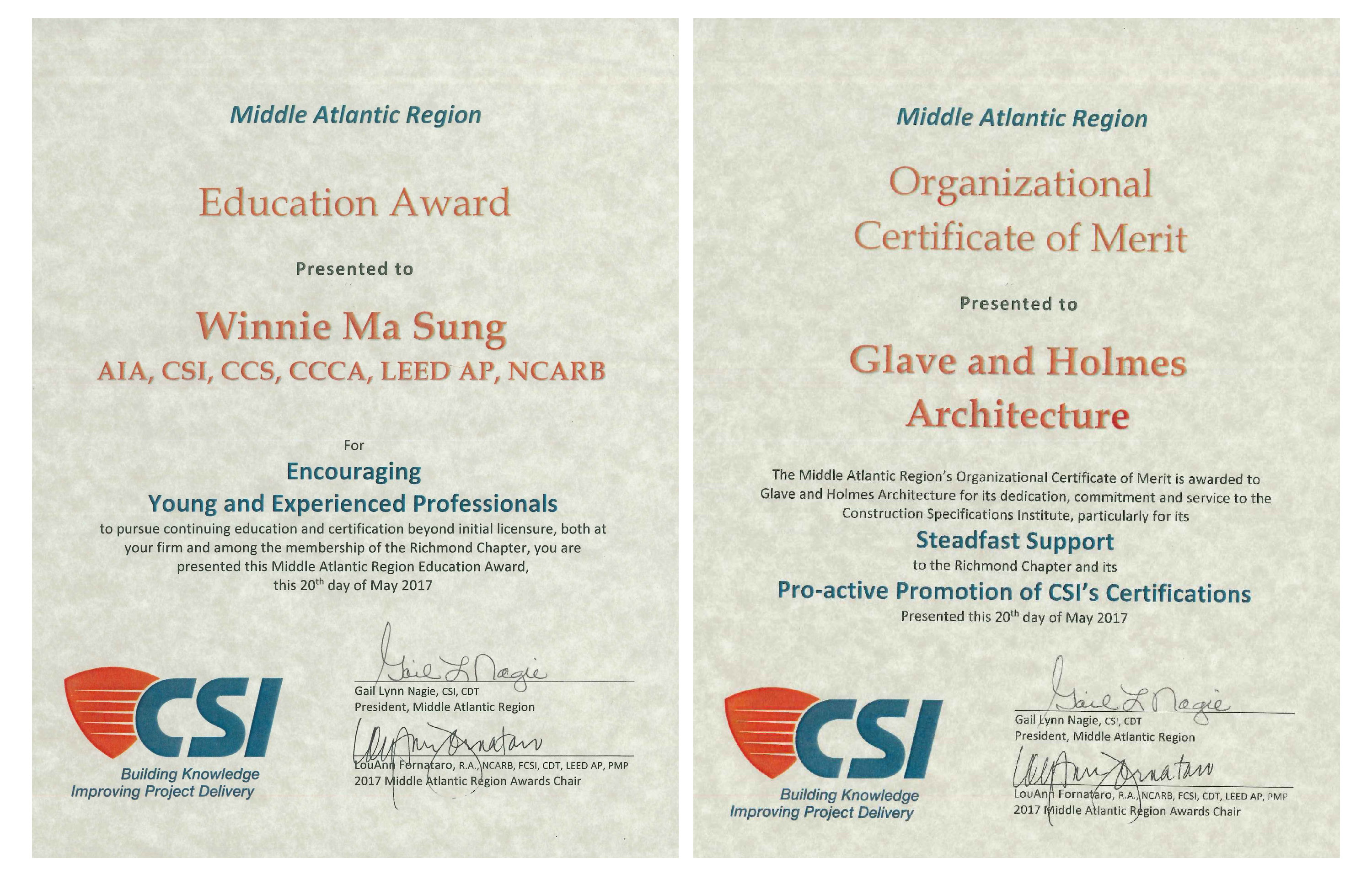 Gha Earns Construction Specification Institute Awards Glav